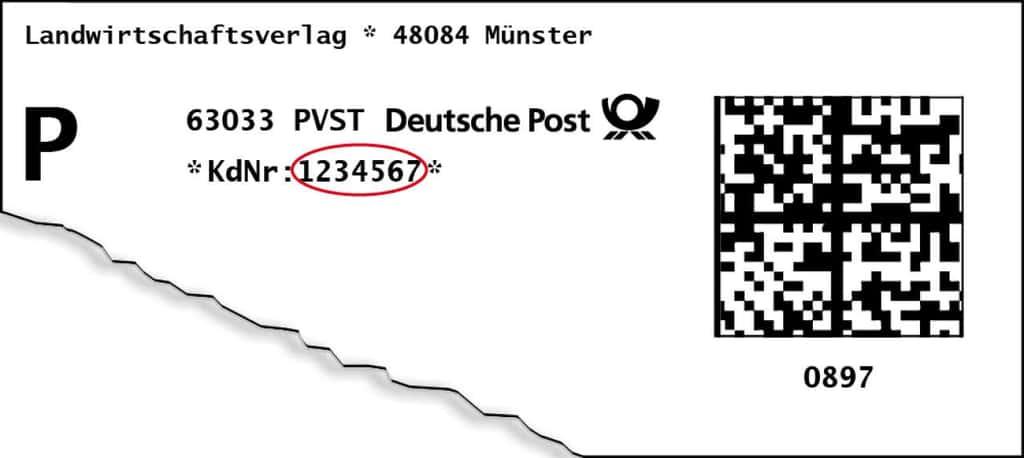 Kundennummer auf Adressetikett