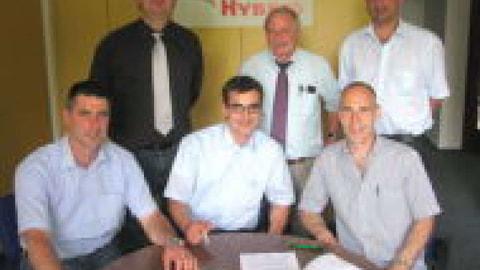 Von links nach rechts: Volker Baumann (stellv.Vorsitzender SZV/ZEG), Jörg Sauter (GF SZV), Matthias Jacobs (GF RVV), Dr. Christian Hodapp (GF ZEG), Heinz-Rudolf Hilgers (Vorsitzender REG), Stephan Kisters (GF REG)